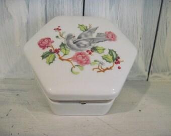 Vintage Avon bird & floral pattern porcelain ceramic jewelry box trinket, avon collectible jewelry box, girls jewelry box hexagonal trinket