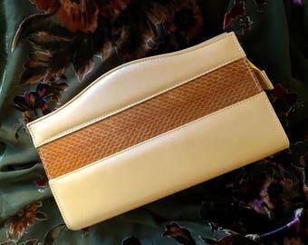 Vintage Charles Jourdain Genuine Leather/Snakeskin Handbag/Shoulder/Crossbody 80s