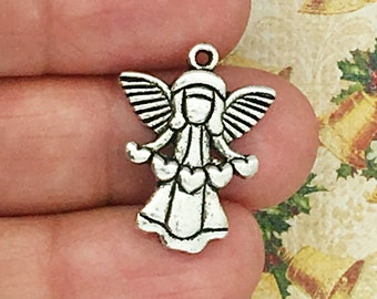 12 Silver Angel Charm Pendant SP0399