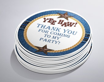 Denim Cowboy Birthday Party Stickers, Western Birthday Party, Cowgirl Party, Rodeo, Personalized