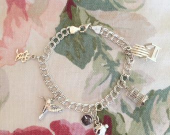 Vintage Sterling Silver Double Link Charm Bracelet With 5 Charms