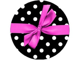 Pink cabochon bow on polka dot 20mm
