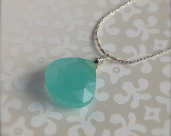 Green Chalcedony June Birthstone Simple Necklace on Sterling Silver Chain