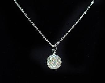 Dragon Scale Necklace AB Rhinestone White Silver Magic