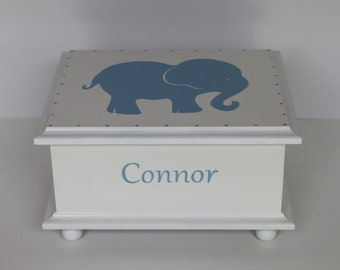 Baby Keepsake Box Baby Memory Box for boy Blue Elephant hand painted personalized baby gift