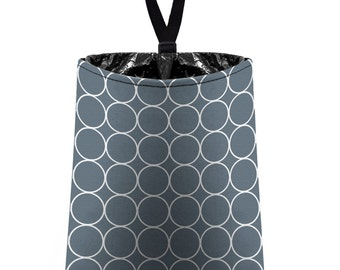Car Trash Bag // Auto Trash Bag // Car Accessories // Car Litter Bag // Car Garbage Bag - Rings (dark grey and white) // Car Organizer