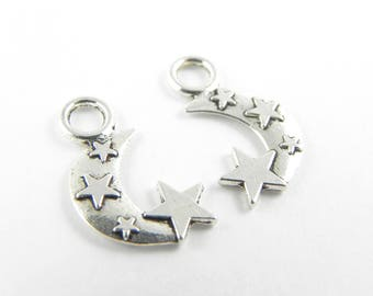 20 Moon & Stars Charms - Antique Silver ~ 18mm x 11mm - Double Sided