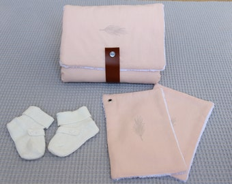 Changing mat Nomad pink quilted/changing pad travel compact/gift of birth/rug nomadic ultra soft for changing baby