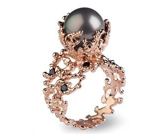 CORAL Tahitian Pearl Ring, Tahitian Pearl Engagement Ring, Black Diamond Engagement Ring, Rose Gold Engagement Ring, Black Diamond Ring