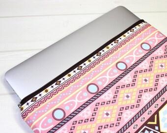 Macbook Pro sleeve, ethnic clutch bag, pink laptop sleeve, womens Macbook case, Pro Retina sleeve, 15 inch laptop case, ethnic laptop case