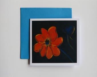 Orange Dahlia - greeting card