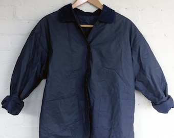 Vintage rubber and corduroy quilted inner jacket, navy blue, size M-L, rubber jacket, quilted jacket, navy jacket, quilted coat