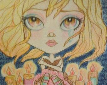 End The Madness Vigil Big Eye Low Brow Fantasy Leslie Mehl Art Print 8.5 x 11