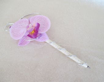 Pen for guestbook, purple and ivory