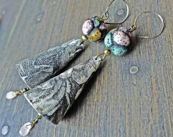 """Handmade artisan earrings of tin and polymer clay rustic art jewelry by fancifuldevices -""""The Marshland"""""""
