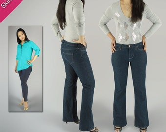 PDF Sewing Pattern for Women: Liana Stretch Jeans (Skinny Jeans | Straight Jeans | Boot Jeans)
