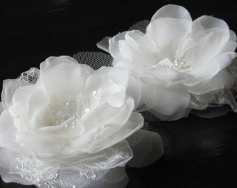 Wedding hair flower Ivory wedding flower Ivory tulle flower Ivory hair flower Wedding tulle clips Ivory hair pins Ivory lace hair flowers