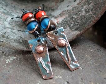 Artisan Earrings, Rustic Boho Earrings, Copper Enamel Earrings, Earthy Earrings, Colorful Bohemian Earrings, Copper and Glass Earrings