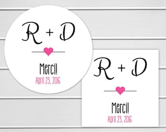 Wedding Thank you Stickers, Personalized Wedding Stickers, Merci Labels, Envelope Seals  (#161)
