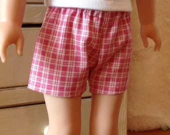 Pink plaid shorts for Wellie Wisher dolls and Hearts for Hearts dolls