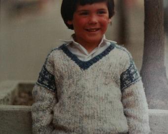 Sweater Knitting Pattern Children Sizes 3, 5, 7 SR Kertzer sm3 Boy Girl Paper Original NOT a PDF