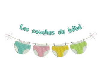 Embroidery design machine washing baby diapers instant download