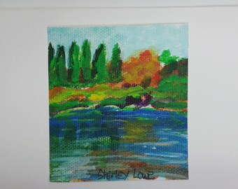 Lake mini art, lake landscape, mini lake scene, tiny original art, fits in a 5x7 frame, hostess gift, happy gift