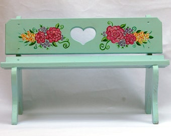 Hand-Painted Light Blue Small Doll Bench, Kids Room, Girls Room, Kids Furniture