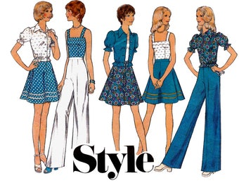 Style 4677 Young Junior Teen Boho Skirt Pants Blouse 70s Vintage Sewing Pattern Size 13 / 14 Bust 33 1/2 inches UNCUT Factory Folds