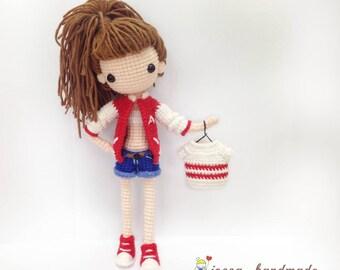 Crochet Doll Pattern / Amigurumi Doll Pattern / Yuna - Denim Short Pants & Jacket / PDF Crochet Doll Pattern / Instant Download