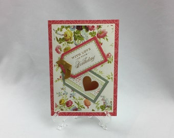 Anna Griffin,  Handmade Card, With Love on Your Birthday, Sister, Daughter, Friend, Mother, Wife, Birthday, Love, Flowers, Heart