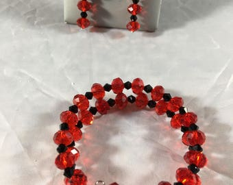 Red and black bracelet and earring set