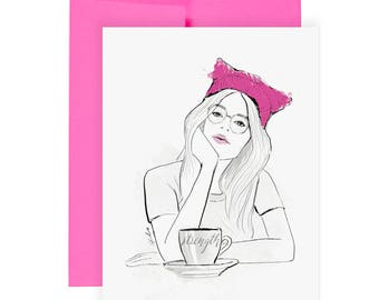 Inner Strength - Greeting Card, Just Because Card, Breast Cancer Card, Illness Card, Encouragement, Fashion Illustration, Struggle