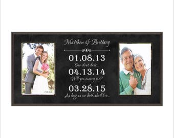 Special Dates Frame, Personalized Wedding, Anniversary Photo Frame, Great Wedding or Anniversary Gift! Couples Gift