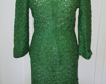 Vintage 1950s Kelly Green Ribbon Suit