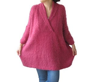 Hand Knitted Sweater, Plus Size Jumper, Over Size Sweater, Hand Knit Jumper, Woman Jumper, Slouchy Sweater, Pink Wool Sweater