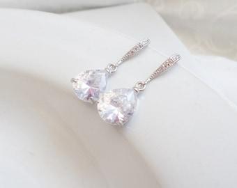 CLEARANCE 30% OFF Cubic Zirconia Bridal Earrings With Sterling Ear Wires  Crystal Bridal Earrings Crystal  Teardrop Earrings