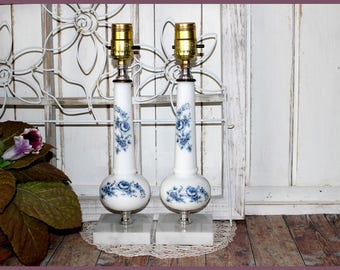 White Milk Glass Electric Lamps, Solid Marble Base, Set of 2, Accent Boudoir Lamps, Blue Rose Transferware Design, Brass Trim, Vintage 1960s