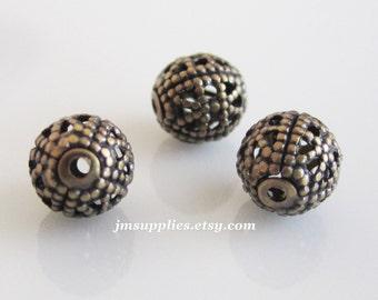 6mm Bead, Antiqued Gold Filigree Round