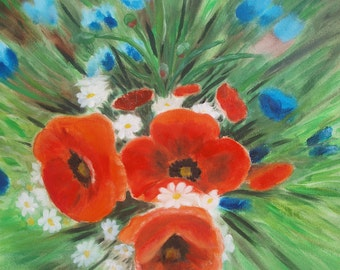 red poppies painting poppies oil painting art painting original  oil painting original oil painting original flowers Oil Floral Painting art