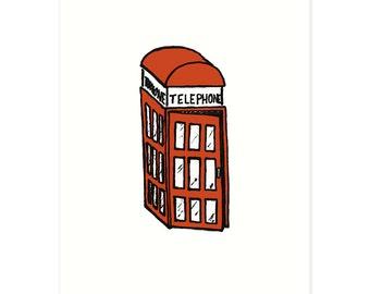British Theme Print, British Phone Booth Art, Cute London Art, Quirky British Print, Random Object Art Print, Baby Room Decor, Nursery Print