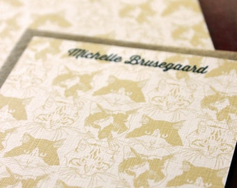 Set of 10 personalized flat notes- Catmouflage