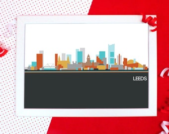 Cityscapes Print - Leeds Print - Leeds Skyline Wall Art - Graphic Print of Leeds - Holiday Souvenir