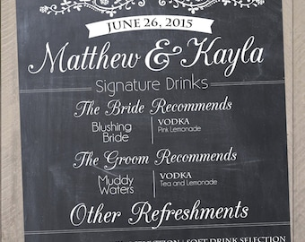 Signature Drink Wedding Reception Chalkprint Chalkboard Sign- Vintage Wedding Party Sign (PDF file)