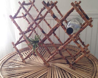 Collapsible Bamboo Wine Rack/Decor - Holds 8 wine bottles