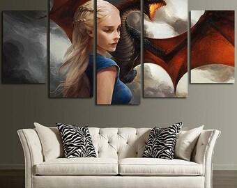 5 Panels Game of Thrones Daenerys Targaryen Khaleesi Drogon Canvas Art Multi Grouped Art Work asoiaf GOT
