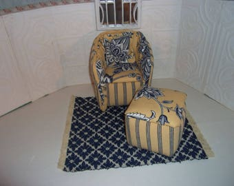 1:6th scale Barbie Dollhouse Handcrafted Furniture Upholstered Chair & Ottoman Carpet  for BARBIE BLYTHE Living Room Bedroom Yellow Blue