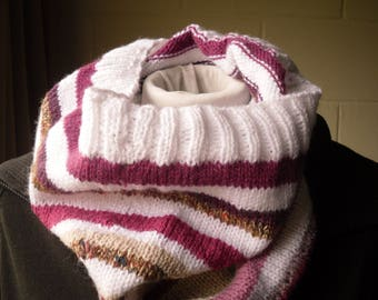 Hand Knitted Cowl, Pink and White Striped Cowl
