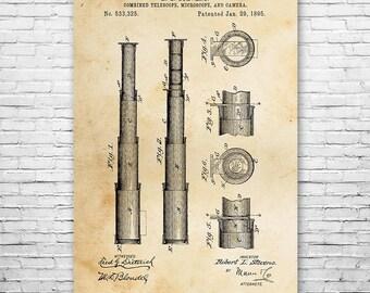 Telescope 1895 Poster Art Print, Telescope Poster, Telescope Art, Telescope Design, Telescope Patent, Nautical Gift, Astronomy Gift, Wall
