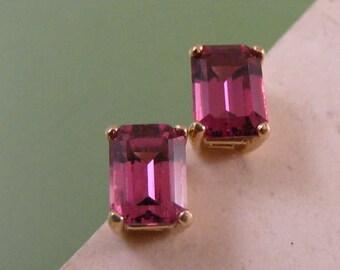 Vivid Pink Rhodolite Garnet Stud Earrings in 14k Yellow Gold.....  Lot 4733